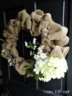 Front Door Wreath -- Love me some burlap!  Looks fairly easy to make.  Good tutorial!