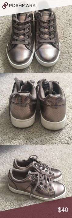 Aldo Metallic Gray Sneakers Great condition shoes, only work outside a couple of times. Aldo Shoes Sneakers