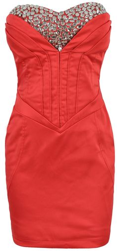 'Alexia' Red Crystal Corset Stretch Satin Dress - Sale