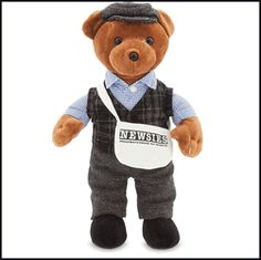 You are purchasing our Newsboy Bear This soft cuddly teddy bear Features; fuzzy faux fur, a deluxe newsboy costume in a variety of detailed fabrics and textures, embroidered accents, tweedy knit cap,