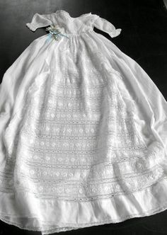 Vintage English Handmade Christening Gown by Vintagefrenchlinens