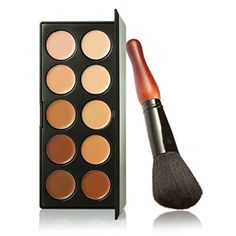 Pure Vie Pro 1 Pcs Make Up Brush  10 Colors Cream Concealer Camouflage Makeup Palette Contouring Kit for Salon and Daily Use * Read more reviews of the product by visiting the link on the image.