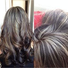 Black Asian hair with blonde highlights and ombré