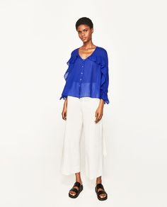 ZARA - WOMAN - RAMIE BLOUSE WITH RUFFLES AND BOWS