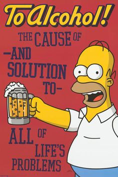 Homer Simpson To Alcohol 1998 Simpsons TV Show Poster 24x36