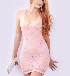 Fashion Club Sequin Mesh Floral Lace Open Back Sexy Strap Mini Dress Pink – ResellerHub.store