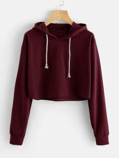To find out about the Drawstring Hooded Crop Sweatshirt at SHEIN, part of our latest Sweatshirts ready to shop online today! Komplette Outfits, Teen Fashion Outfits, Outfits For Teens, Casual Outfits, Fashion Clothes, Crop Top Hoodie, Cropped Hoodie, Hoodie Sweatshirts, Hoodies