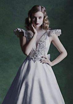 Richly embellished silk duchesses a line dress with plunging V neckline. Flutter Sleeve, Bridal Style, Tulle, Dresses With Sleeves, Models, Bride, Elegant, Wedding Dresses, London