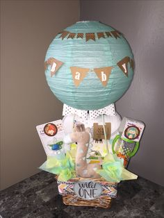 Hot air balloon shower elephant themed gift basket babygift shower cakes shower ideas basket bouquets party cakes nosegay negle Choice Image