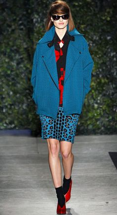 The Wild Punk #Skirt Abstract Blue Leopard Print & Blue #Coat  #Fashion #Trends for all Winter 2013 I Tracy Reese  #Fall2013 #trendy #print