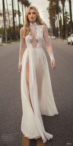 berta 2019 muse bridal long sleeves high neck heavily embellished bodice high slit skirt sexy soft a line wedding dress keyhole back chapel train (7) mv #weddingdress