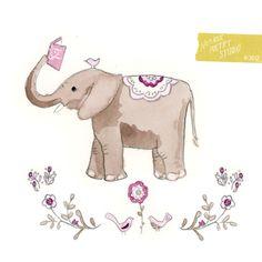 Nomadic Poetry Studio: Reading elephant & bird illustration