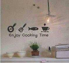 Aliexpress.com: Comprar Envío Gratis extraíble Cocina gusta cocinar Tiempo Negro etiqueta de la pared del vinilo de la decoración del hogar 4007 360 de productos de etiqueta fiable proveedores en becky zhang's store