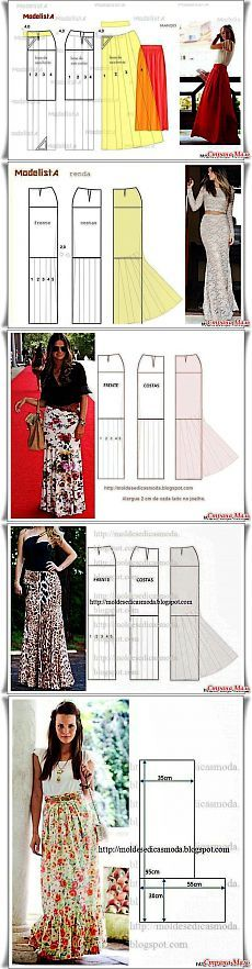 Long skirts - All Sewing lessons . Diy Clothing, Sewing Clothes, Clothing Patterns, Dress Patterns, Sewing Patterns, Techniques Couture, Sewing Techniques, Mode Glamour, Diy Vetement