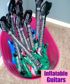 Blow up Guitars and Microphones for kids to play with and take home.