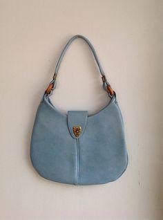 FREE SHIPPING!!  Vintage 1970s Light Blue Vinyl Purse/Tote/Shoulder Bag on Etsy, $12.00