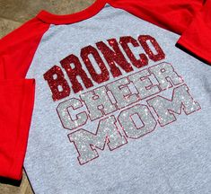 """Cheer Mom Shirt - Short Sleeve Raglan Jersey Style - Your Team-Squad & """"CHEER MOM"""" Your Choice of Red or Blue Sleeves and Sparkling Glitter"""