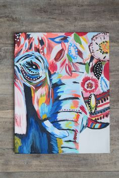Abstract Elephant hand painted by Elise Winter Size 11 X 14 Canvas