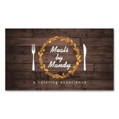Unique and eye-catching customizable business card template for catering company, restaurant, food delivery, personal chefs, etc. Features a rustic, woodgrain look with a wreath logo holding your name or business name. Easy to personalize. Printed on high quality card stock. Fast shipping.