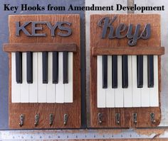 Key holder with vintage piano keys and four hooks. Handmade by Amendment Development in Paso Robles, California