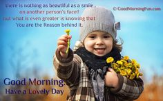 Flower-offering-cute-baby-girl-Be the reason for some one smile good morning quote