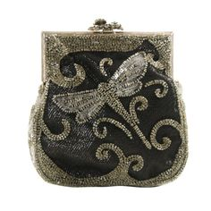 Larisa Barrera Beaded Art Nouveau Style Evening BagArt Nouveau style beaded evening bag.The frame and the beads are gun metal grey on a black background. The clasp is a floral design with a small butterfly.the rhinestones in the clasp look like hematite. C.1980's
