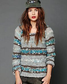 Sweater Weather: 12 Knits To Wear Now | Flare.com | Free People striped grey knit sweater, $362, freepeople.com.