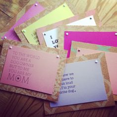 Mother's Day cards from your pup! Handmade by Katie's Mom, Andrea for all the Dog Moms out there! Mounted on cork board sheets and come with a craft paper scalloped edge envelope!   Let us send a card from your pups to everyone on your Mother's Day List! :)