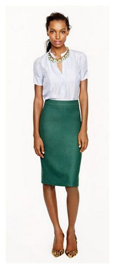 emerald pencil skirt - great fall piece with a sweater and an oxford cloth shirt. - I'd add a belt.