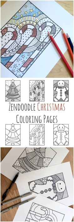 Zendoodle Christmas Coloring Pages — christmas tree, gingerbread man, and candy cane coloring pages. Blank or doodled! via @todaysmama