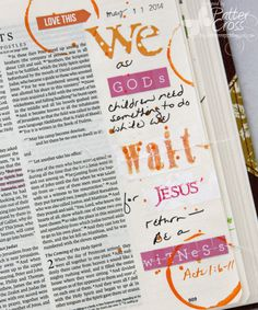 Journaling Bible Acts 1:6-11 by Patter Cross. See tips on how to use deli paper for stamping and then use your sewing machine. :)