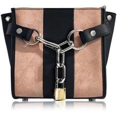 Alexander Wang Damen Attica Chain Cameo Pink Stripe Suede Mini Satchel... ($655) ❤ liked on Polyvore featuring bags, handbags, suede purse, pink satchel purse, striped handbag, chain handbags and mini satchel purse