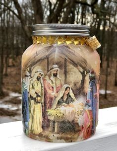 The nativity lighted jar lighted jars lighted bottles Christmas Jars, Etsy Christmas, Christmas Crafts For Kids, Christmas Decorations To Make, Simple Christmas, Diy Hanging Shelves, Floating Shelves Diy, Jar Lights, Bottle Lights