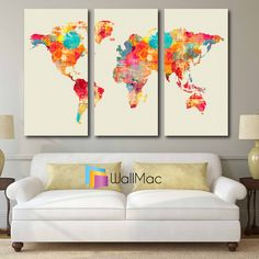 Colorful Modern Art World Map Wall Canvas Gallery Wrap Adhesive Wall Color Yellow Pink Purple Orange by WallMac on Etsy