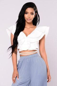 21bdd8f3d3909 Blindfold Ruffle Top - White. Fashion Nova ...