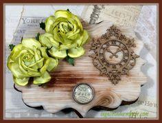 Galletas Vintages efecto madera con decoraciones de Scrapbook