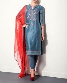 Smokey Blue Kurta Set with Embroidered Yoke