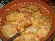 """Sarma"" - traditional Yugoslavian food! Leaves of cabbage filled with rice, meat, spices, onion, carrot and garlic cooked in oil water about 2 hours)!!! yum"