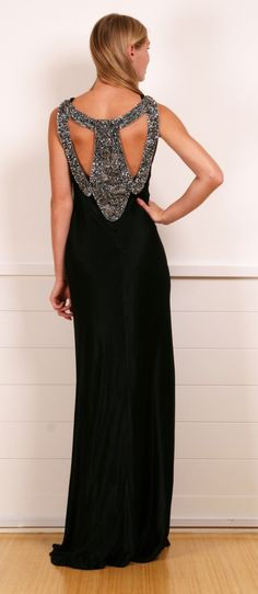 Alberta Ferretti black embellished dress