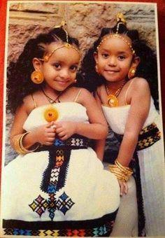 Beautiful Ethiopian Children in traditional Amharic Attire.