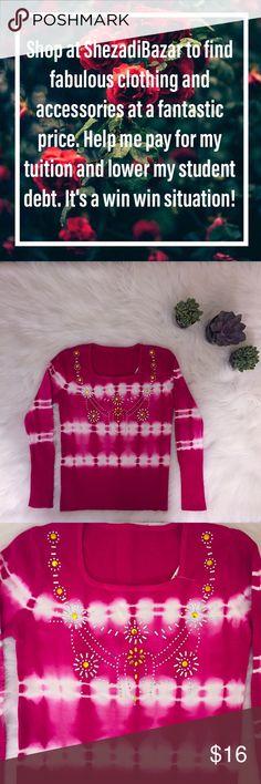 Tie dye long sleeve pink sweater . Gold sequence Tie dye long sleeve pink sweater . Gold sequence Sweaters Crew & Scoop Necks