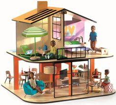 Кукольный дом Color House Djeco Djeco 07803. Домик для кукол выполнен в современном стиле.  Деревянный дом имеет несколько комнат. Можно украсить самостоятельно, с мебелью, приобретаеться отдельно.   Дом кукол открыт с обеих сторон и поэтому с ним очень легко играть.