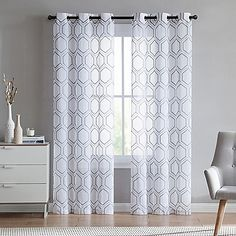 VCNY home Empire Sheer Grommet Top Window Curtain Panel Pair