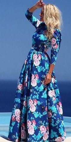 Bohemian Style Floral Print Long Sleeve Round Neck Maxi Dress