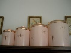 Vintage Atomic Starburst 1950's RARE Ransburg Pink Metal Canister Set ...