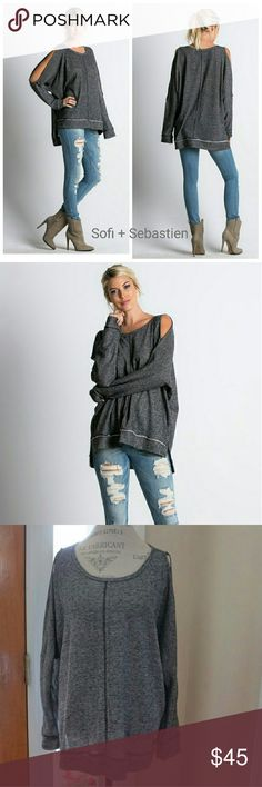 Cold shoulder sweatshirt top heather black nwt Sorry, NO TRADES  Price firm unless bundled   Save money and bundle!  Save 10 percent on any bundle of 2 or more items! Sofi + Sebastien  Tops