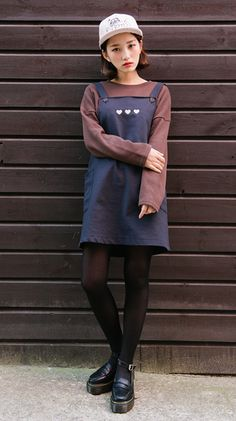 [MIXXMIX] EMBROIDERED HEART DETAIL OVERALL DRESS