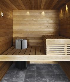 Tulikivi Naava electrical sauna heater can also be integrated in the sauna pannels.