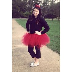 DIY: Minnie Mouse Halloween Costume for all ages(children, teens, adults) - I got the ears at the Disney store (they're actually for little girls but fit me fine) - I made the tutu myself - I got sparkly shoes from Walmart - Just a black shirt and black leggings - and my make up is just my normal make up with a nose painted on (: