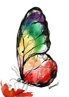 Watercolor paintings - rainbow butterfly original watercolor painting colorful nature wall art unusual birthday present contemporary art watercolour picture Butterfly Wall Art, Butterfly Watercolor, Watercolor Art, Rainbow Butterfly, Butterfly Drawing, Butterfly Painting, Rainbow Wall, Art Aquarelle, Green Butterfly